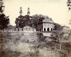 General view of Jami Masjid entrance and outer wall of court from the south-east, Champaner